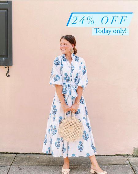 Block print dresses On sale 24% off site wide No code needed Fall dress wedding guest dresses blue and white Grandmillennial preppy style gifts for her  #LTKGiftGuide #LTKwedding #LTKsalealert