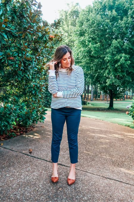 Can't hide my bump 🤰🏻 anymore, but happy to dress it up in this ruffle detail striped sweatshirt this fall. 🍁 This one is selling fast and totally worth it. Also love that I can get away with wearing this dressy sweatshirt to work! 🙌🏻   Get $50 off my Sarah Flint shoes with code SARAHFLINT-BASHIPSHQ  #workwear #sweaters #fallstyle   #LTKGiftGuide #LTKSeasonal #LTKstyletip