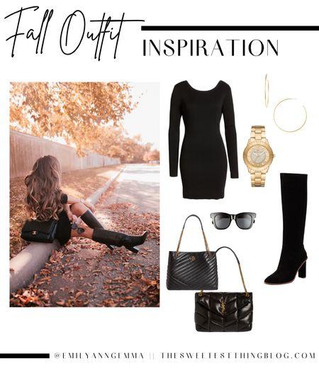 Fall outfits, sweater dress, dress, black dress, black boots, black handbag, fall handbag, gold watch, gold jewelry, Tory Burch black handbag, Tory Burch purse, sunglasses, Emily Ann Gemma   #LTKstyletip