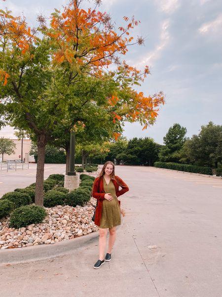 Fall outfit!  Old navy burnt orange sweater cardigan tts Target green dress fits true to size, 20% off right now! Target black sneakers, fits true to size    #LTKsalealert #LTKshoecrush #LTKbump