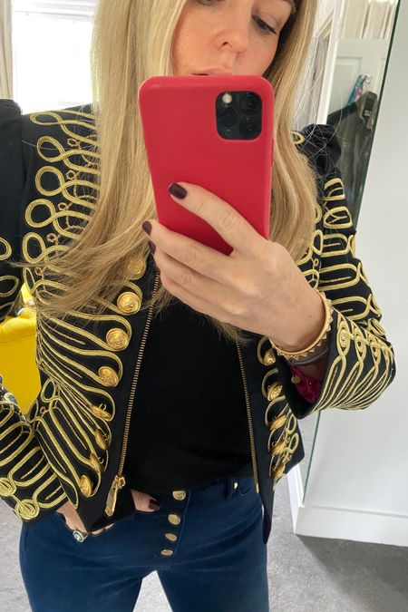 Instead I take my cue from the exposed button fly and layer on more gold. Add a chunky watch and ring or a great statement jacket like my military one.  http://liketk.it/2ShDn #liketkit @liketoknow.it