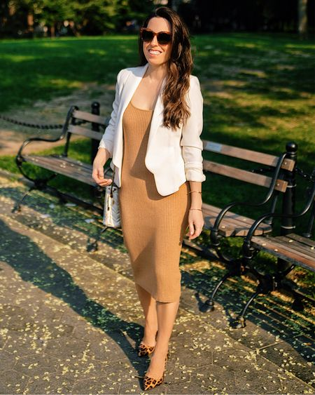 Sweater dress in XS, white blazer, animal print pumps, business casual, work outfit, summer outfit, knit dress, bucket bag, office outfit,  #liketkit #LTKworkwear #LTKshoecrush #LTKunder100 @shop.ltk http://liketk.it/3k5jT  #LTKstyletip #LTKworkwear