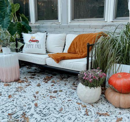 Fall decor Fall patio  Outdoor loveseat  Outdoor sofa  Outdoor planters   #LTKSeasonal #LTKhome