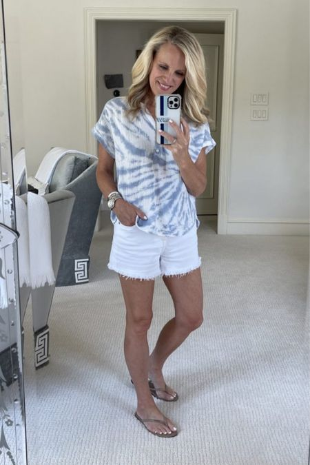 July Reader Favorites is out and this crinkled cotton top is on the list and part of the #NSale. Get it while you still can. You will love the fit and it goes with any denim style white shorts or jeans and my favorite nude flip flops!  #LTKshoecrush #LTKstyletip #LTKsalealert