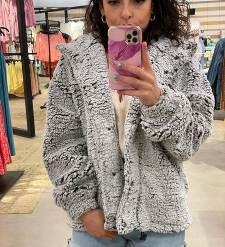 This comfortable and cozy faux teddy jacket is on sale at Nordstrom! It's perfect for fall and winter and great for petite ladies!   #LTKunder100 #LTKunder50 #LTKsalealert