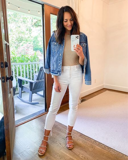 Versatile neutral body suit that's part of the Nsale - tts and I'm wearing a small // linking similar white jeans and jacket ❤️ http://liketk.it/3jJFq #liketkit @liketoknow.it #LTKunder100 #LTKunder50 #LTKsalealert