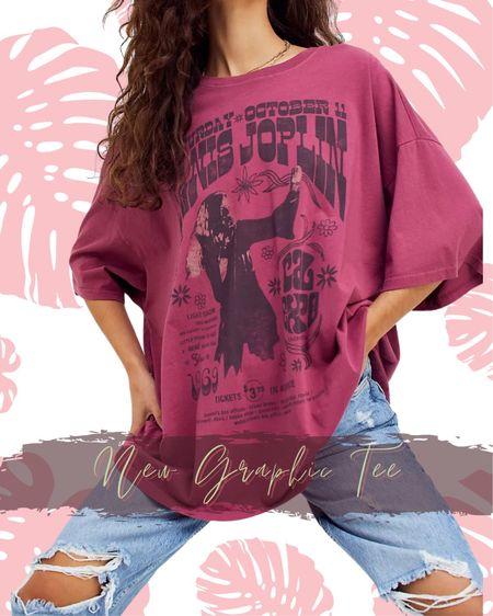 Janis Joplin graphic tee Oversized Vintage  T-shirt Free people   #LTKtravel #LTKunder100 #LTKstyletip
