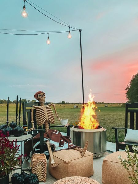 Halloween decor, skeleton, fire pit, solo stove, outdoor space