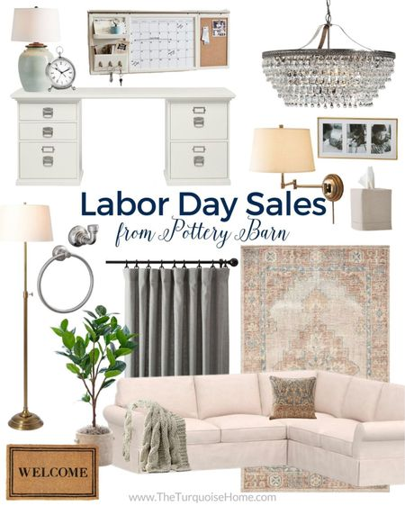 My favorite Pottery Barn finds from their warehouse sale! Our PB Comfort Sectional is included, along with my kitchen lamp, desk, linen curtains, desk clock and more! I love the tissue cover, wall organization system, chandelier and floor lamp. The faux rubber tree and welcome mat are so cute, too.   #Labordaysales  Labor Day Sales  #LTKhome #LTKsalealert