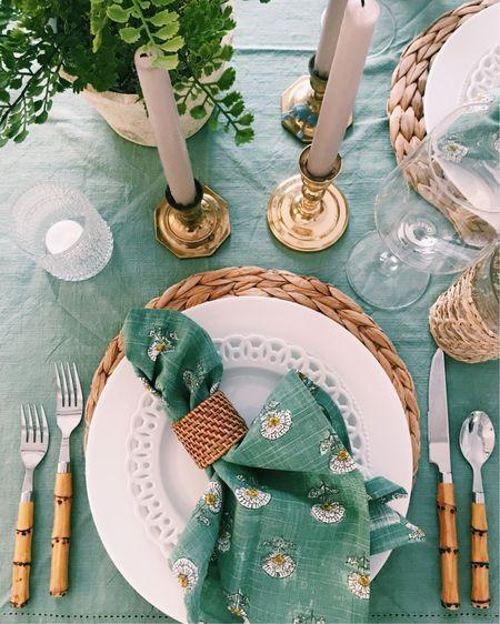 spring green table setting with rattan! http://liketk.it/379Sg #liketkit @liketoknow.it #LTKSeasonal #LTKhome #LTKunder50