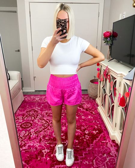 The way home shorts are BACK IN STOCK! Over 25 colors + just $30.. I'm wearing the XS!! This is the color vivid pink. Free People style  http://liketk.it/3hJWk @liketoknow.it #liketkit #LTKfit #LTKunder50