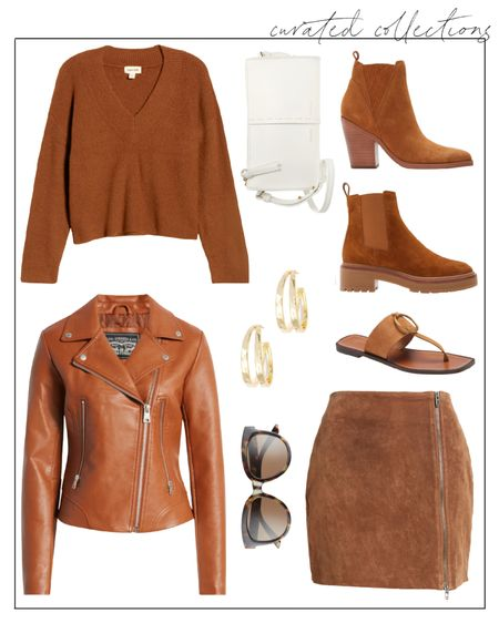 """Clearly ready for these tones to be in season over here 🍂 These are in-stock brown and rust hues at the Nordstrom Anniversary Sale. I'm normally not one for a chunky boot, but those Tory Burch boots look more elevated than most!  I linked a few other fall pieces like this in the """"Related"""" section, in case any of these beauties sell out completely.  fall fashion, nsale picks, fall fashion 2021, brown moto jacket, moto jacket, fall outfits, fall outfits women, brown leather jacket #nsalepicks #fallfashion #nsalepublicaccess"""