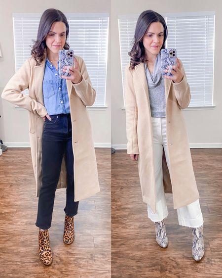 Ways to wear a Dad camel coat (xs) // style with denim http://liketk.it/38G37  #liketkit @liketoknow.it #LTKstyletip