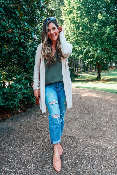Summer cami + cozy sweater to transition into fall 🍁 Had to snag another barefoot dreams cardigan during this year's NSale because they're just so soft and comfortable 💕 Jeans under $40, size down.   #LTKstyletip #LTKunder50 #LTKSeasonal