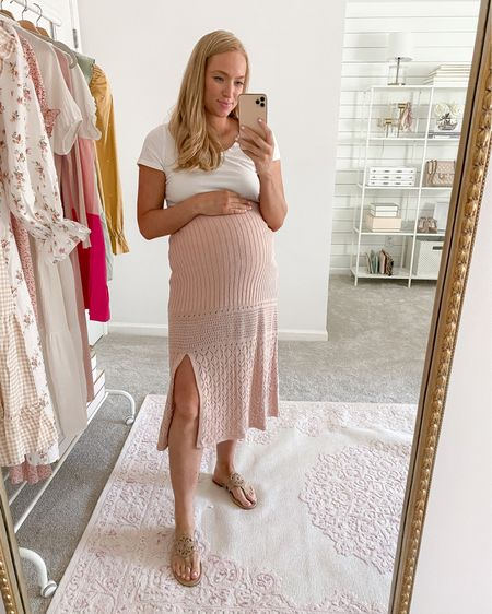 Love this blush sweater skirt I found at Walmart under $50! I sized up to a medium for the bump but it runs TTS. Even comes with a matching sweater cropped tank but I paired it with a basic tee instead.    #walmartfinds #sophiavergara #walmartfashion http://liketk.it/3i0hI #liketkit @liketoknow.it #LTKunder50 #LTKbump