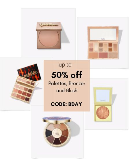Up to 50% off Tarte cosmetics eye shadow palettes, bronzer and blush! Use code 'BDAY' at checkout. Baked bronzer, neutral shadows, fall colors, etc.  #LTKbeauty #LTKsalealert #LTKunder50