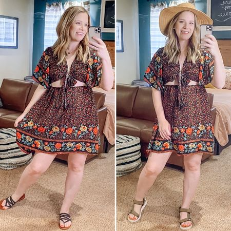 CUTE summer dress from SHEIN! It comes in 4 prints!   You can instantly shop all of my looks by following me on the LIKEtoKNOW.it shopping app   http://liketk.it/3jh6L #liketkit @liketoknow.it #LTKstyletip #LTKunder50 #LTKswim