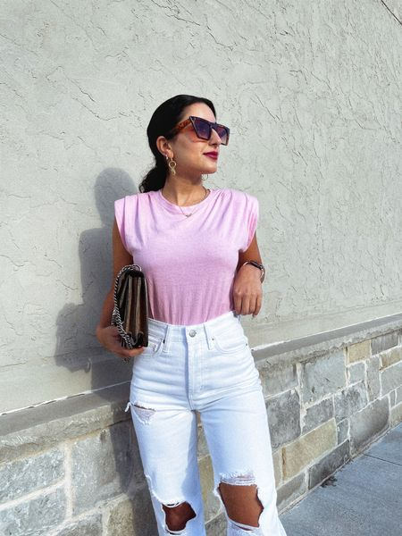 http://liketk.it/3ebqv #liketkit @liketoknow.it  Express padded shoulder tee, casual outfit, white denim outfit, jeans, pink tee #LTKunder50 #LTKitbag