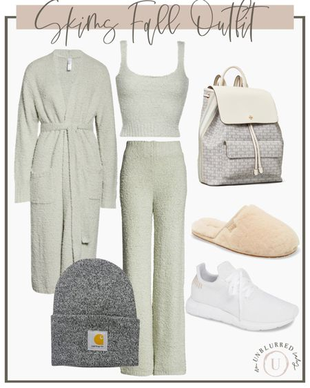 Skims are popular for their comfort factor while still being cute af. Take this grey set from indoors to outdoors with a quick shoe and accessory change. http://liketk.it/2ZPF6 #liketkit @liketoknow.it #LTKunder100 #LTKstyletip #LTKhome cozy lounging fall outfit idea
