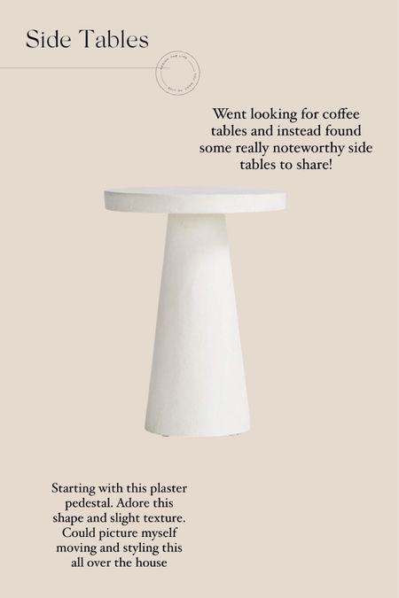 Plaster pedestal side table http://liketk.it/38PbA #liketkit @liketoknow.it #LTKhome @liketoknow.it.home