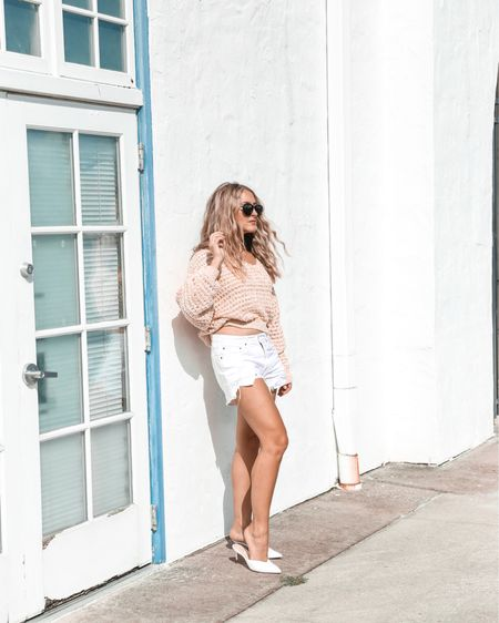 I found this sweater half off and these shorts are finally back in stock!  I have tried no lie 10 different pairs of white shorts and these are the best (they are also the cheapest!). They aren't see through, are super comfortable, and are the perfect rise.  Also, these mules are sold out but I found a really great similar pair and they are half off as well!  http://liketk.it/2ZaBj #liketkit @liketoknow.it