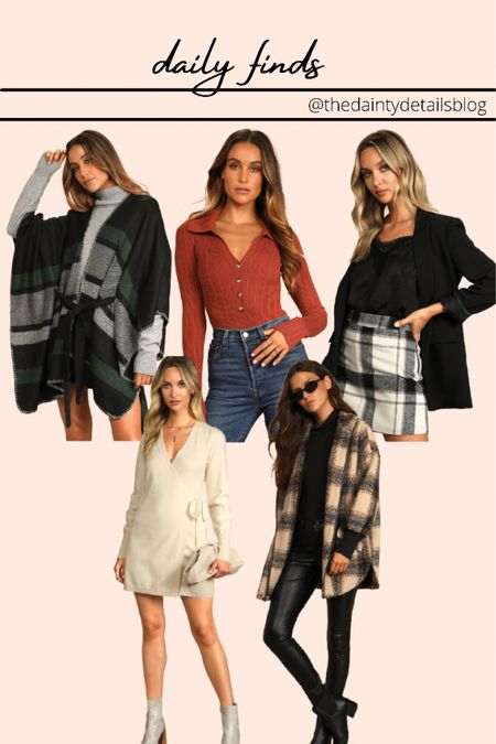 Fall outfits Poncho Sweater dress  Shacket Plaid skirt  #LTKSeasonal #LTKunder100 #LTKstyletip