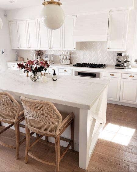 White kitchen style, neutral home decor, kitchen accessories, bar stools, StylinAylinHome   #LTKhome #LTKunder100 #LTKstyletip