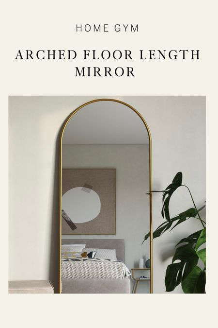 Small home gym, home gym, gym mirror, golf mirror, floor length mirror, full length mirror, gold arch mirror, arched mirror,   #LTKHoliday #LTKhome #LTKfit