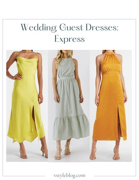 Wedding guest dresses, Maxi dress, Satin dress, Slip dress, Sale alert, LTK Day Sale  Express  Satin Cowl Neck Maxi Slip Dress (was $108, now $54) English Factory Open Back Sleeveless Maxi Dress ($90) Satin Halter Maxi Dress ($98)  #LTKwedding #LTKsalealert #LTKSale