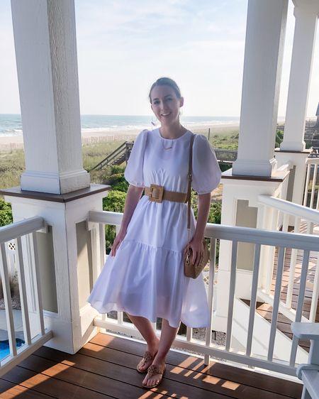 http://liketk.it/3gbez #liketkit @liketoknow.it Memorial Day, white dress, puff sleeve, white midi dress, modest, beach vacation