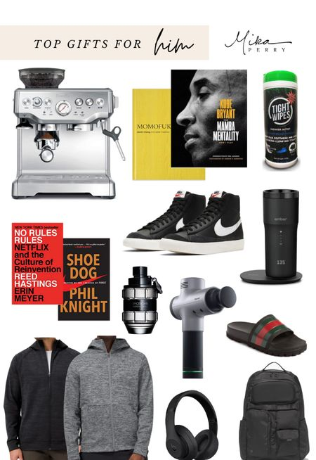 Top gift ideas for your guy! 💚💙🖤 Espresso machine, Amazon, books, hoodies, mens outfits, Nike shoes, cologne, travel coffee mug, Gucci, Lululemon   #LTKunder100 #LTKgiftspo #LTKmens