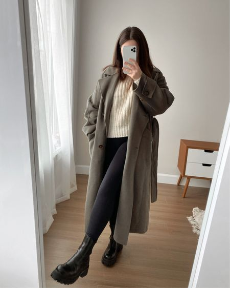 Coffee date outfits 🖤 zara coat, H&M sweater, winter to spring outfits, winter outfit, coffee outfit, errand outfit, casual fashion, green coat, black leggings, black boots, cream sweater #LTKstyletip #LTKunder50 #LTKsalealert @liketoknow.it #liketkit http://liketk.it/39oN5