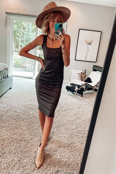 Fall midi dress Fall hat Date night outfit for fall   #LTKSeasonal #LTKsalealert