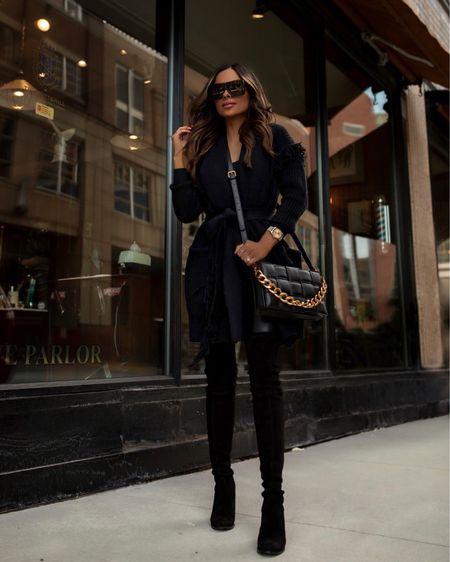 Walmart fall outfit ideas  Scoop fringe cardigan wearing an XS Faux leather pants wearing a 00   #LTKunder100 #LTKshoecrush #LTKunder50
