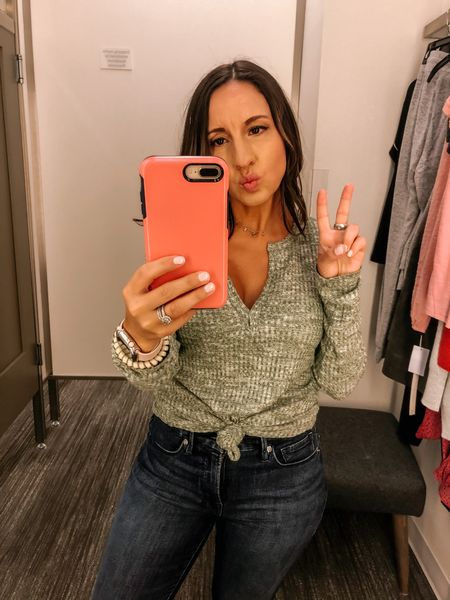 Long sleeve Henley top. Runs tts. If you want to knot it size up one size.  Good American jeans run tts.  Cute casual fall style    #LTKsalealert #LTKunder50 #LTKunder100