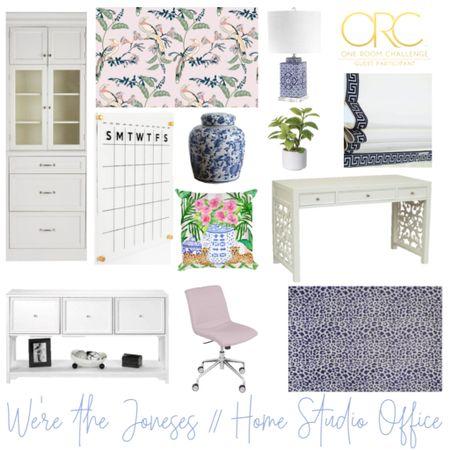One Room Challenge - Home Office Makeover Design Board 📋💗💙 . .  http://liketk.it/2FJ7n #liketkit @liketoknow.it @liketoknow.it.home  home decor, office decor, home office, girl boss office, desk, chinoiserie pillow, chinoiserie lamp, pink decor, pink office chair, wallpaper, acrylic calendar   #LTKhome #LTKsalealert #LTKunder50 #LTKunder100