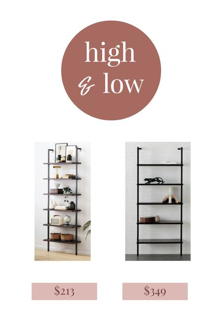 Ladder bookshelf high and low, look for less   #LTKhome