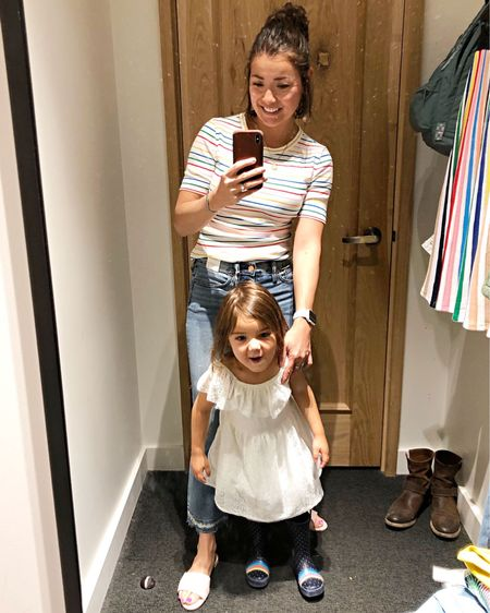 Oh hi, cuties. Everything is 40% off at @jcrew for #MemorialDay and a few of our editors have already tried and reviewed their fav pieces! Emily's post is going live on the blog soon..For now, shop her rainbow striped tee, jeans and slides with the LIKEtoKNOW.it app. http://liketk.it/2BXWQ #liketkit @liketoknow.it #TheMomEdit #TheMomEditStyle #LTKunder100 #LTKunder50 #LTKsalealert