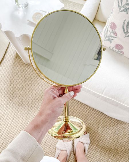 This Amazon find is a little vanity mirror (double sided with magnifying side) that I found last year and haven't shared! Such a pretty color.   vanity mirror, amazon home, amazon finds, amazon mirror, magnifying vanity mirror, swivel mirror, gold vanity mirror, vanity mirror gold, amazon finds home, amazon finds beauty, amazon finds under 50, natalie yerger, makeup mirror, makeup mirror magnifying, makeup mirror swivel, makeup mirror gold  #LTKbeauty #LTKunder100 #LTKhome