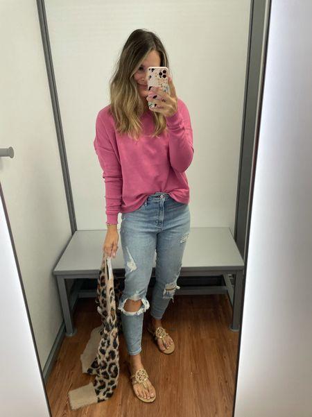 Cutest sweatshirt from Walmart true sizing and Abercombie jeans #walmartfashion #walmartfinds #abercombie #jeans #denim #casualoutfit   #LTKunder100 #LTKunder50 #LTKsalealert