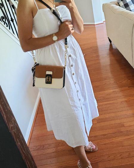 White linen dress. Size small. Aldo bag. http://liketk.it/3fIUV @liketoknow.it #liketkit