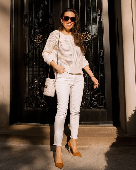 Crochet sweater in Small, white jeans in size 26, casual outfit weekend style, open stitch, ivory crew neck sweater -   Linked the sweater & the jeans in multiple colors  Follow my shop on the @shop.LTK app to shop this post and get my exclusive app-only content!  #LTKunder50 #LTKsalealert #LTKitbag
