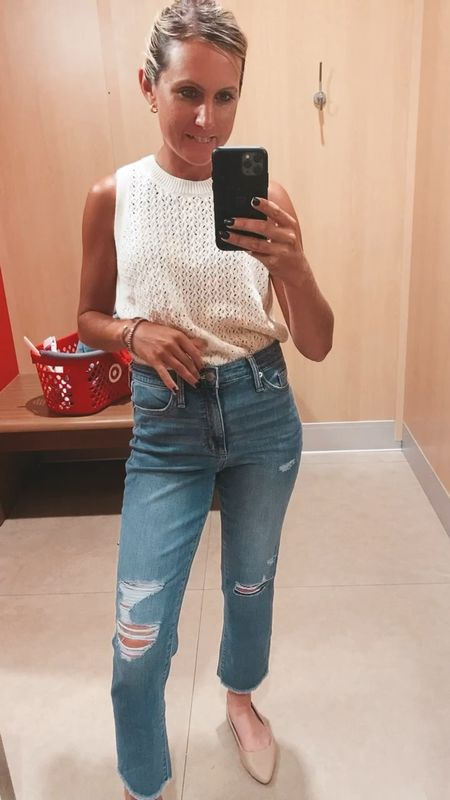 Buy these! Im obsessed. TTS, wearing size 4 here will probably order a 2. Straight legged medium wash by universal thread here are your Agolde dupe jeans. Most flattering jeans   #LTKstyletip #LTKunder50 #LTKSeasonal  #LTKsalealert #LTKSeasonal #LTKunder50