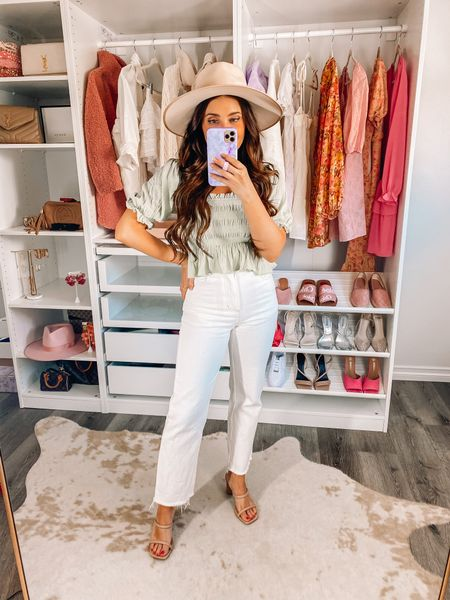 Spring outfit: white wide leg jeans 20% off with maxie20 (xs), puff sleeve top on sale! (Xs), lack of color hat, target sandals   White jeans, vacation outfit  #LTKunder100 #LTKsalealert #LTKunder50