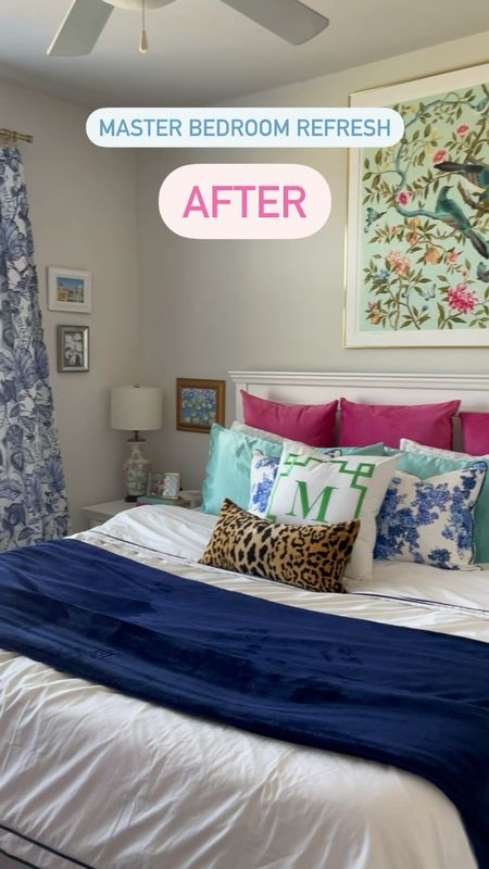 Master bedroom refresh! Spent the last few months redecorating this room and I love how it turned out! The big print is Diane Hill, and all of the other prints and pillows and linked below.   #LTKstyletip #LTKhome