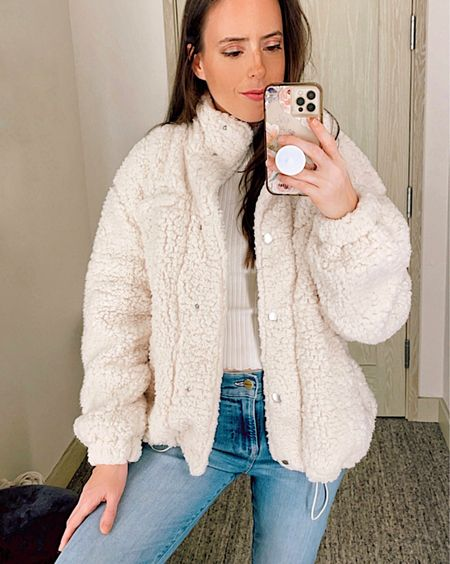 Fuzzy jacket in Small, Frame skinny jeans in size 26, ivory crop top in size Small, Nordstrom's Sale is now open to the public until August 8th, NSale, fall outfits, fall jacket,   #LTKsalealert #LTKstyletip #LTKunder50