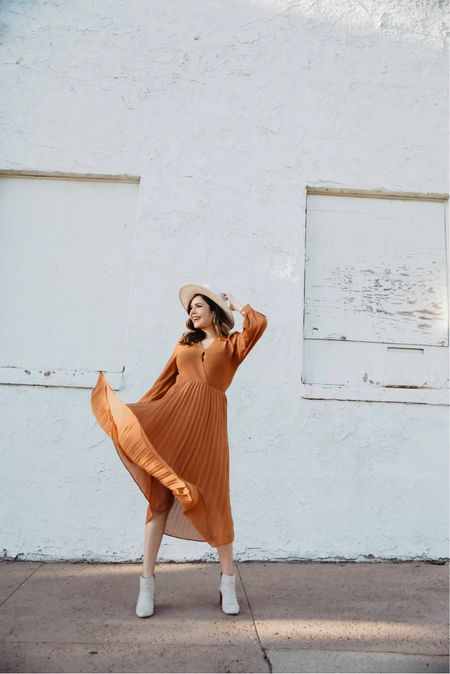 The perfect Fall color dress by ChicWish, styled it booties & a cream colored hat.     #LTKunder50 #LTKshoecrush #LTKstyletip