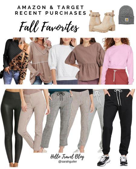 Fall style. Fall fashion. Leopard sweater. Spanx faux leather leggings. Plaid. Buffalo plaid. Target style. Target finds. Amazon fashion. Amazon finds. Causal style. Sweatpants. Crop sweatshirt. Fall trending style   #LTKunder100 #LTKSeasonal #LTKstyletip
