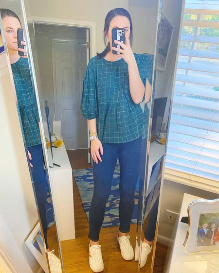 An easy work outfit featuring a cute target too, madewell jeans, and my tretorns! I've also included an affordable pair of mules that could dress this look up a bit! @liketoknow.it #liketkit #LTKunder50 #LTKunder100 http://liketk.it/3qehk