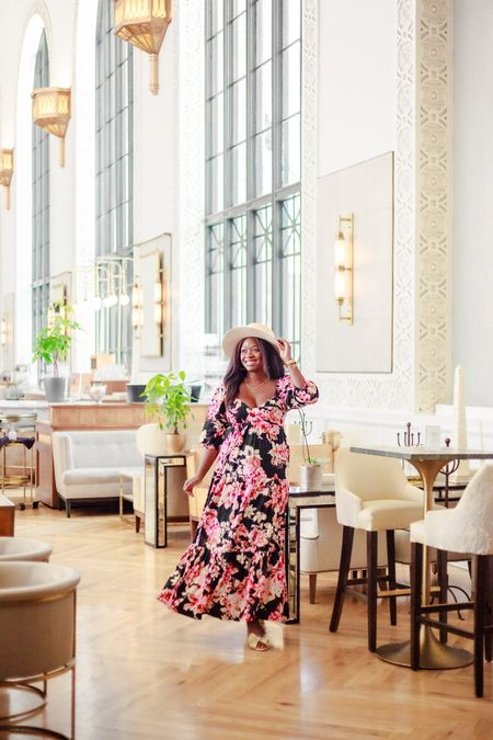 Gorgeous fall wedding outfit idea — floral maxi dress (wearing a size medium: TTS for busty gals, but size down if you have a normal size bust!)  #LTKtravel #LTKSeasonal
